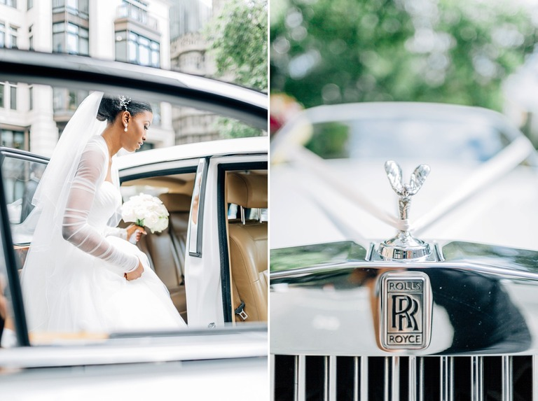Bride with Rolls Royce at the Dorchester Hotel in London
