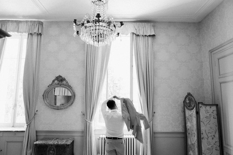 Grooms Getting Ready at Chateau la Durantie in France