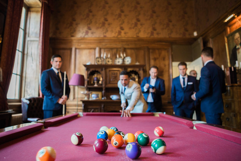 Groom and Groomsmen playing Pool at Chateau la Durantie in France