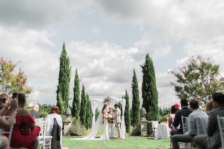 Outside Wedding Ceremony at Chateau la Durantie in France