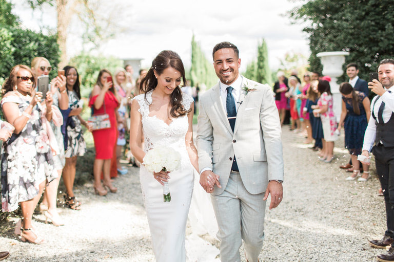 Wedding Confetti after the Ceremony at Chateau la Durantie in France