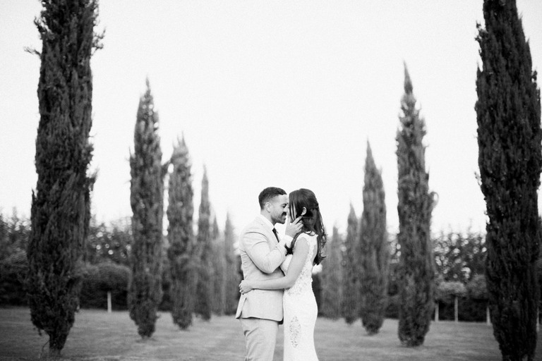 Bride and Groom at Chateau la Durantie in France