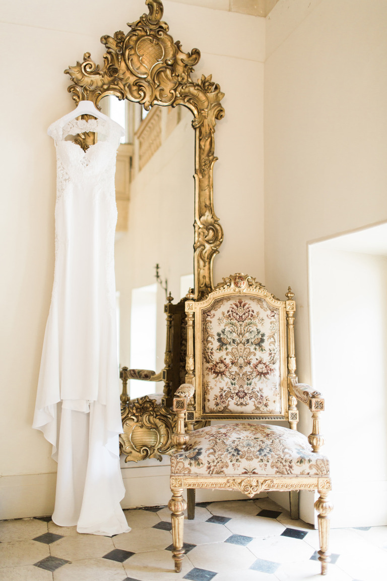 Wedding Dress at Chateau la Durantie in France