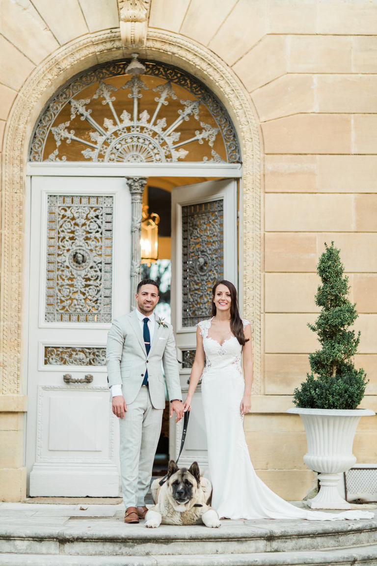 Wedding Couple with Dog at Chateau la Durantie in France