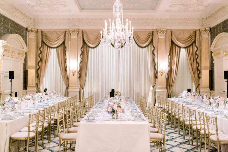 drawing room at Claridge's for a wedding breakfast